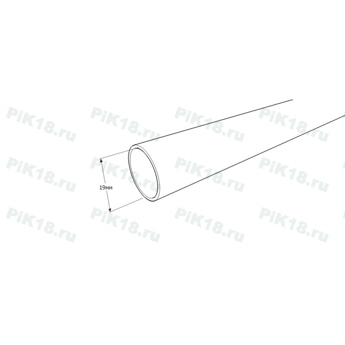 Труба гладкая 1,6м Ø19мм Хром матовый