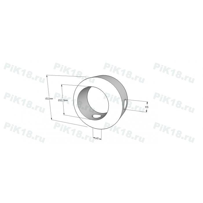 Крепление ригеля «кольцо» 12мм к стойке 38мм