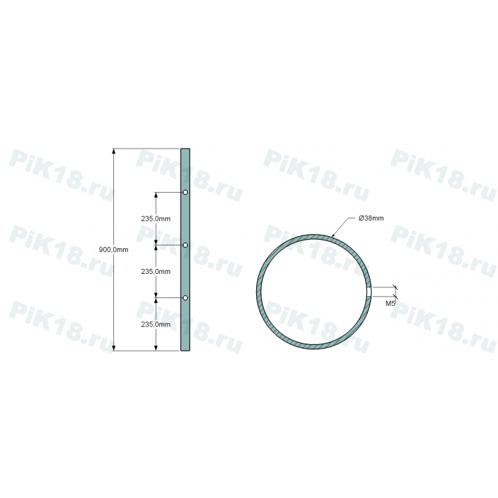 Стойка 38мм под 3 ригеля (AISI 304)