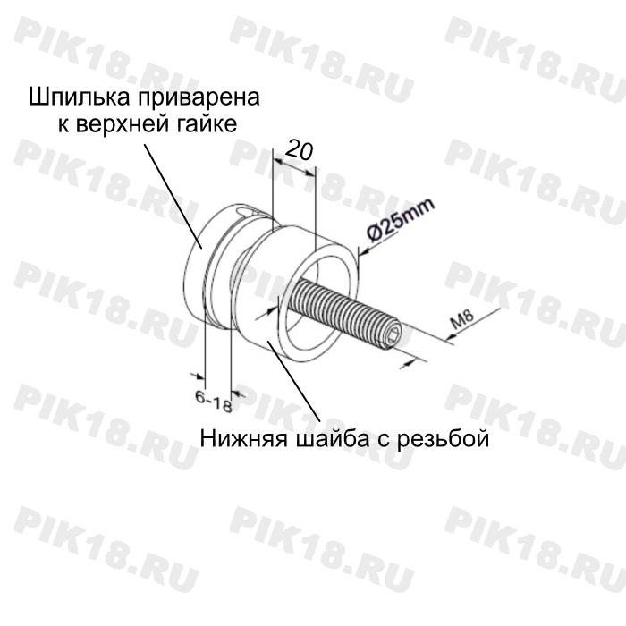Стеклодержатель сквозной для квадратной стойки тип 2