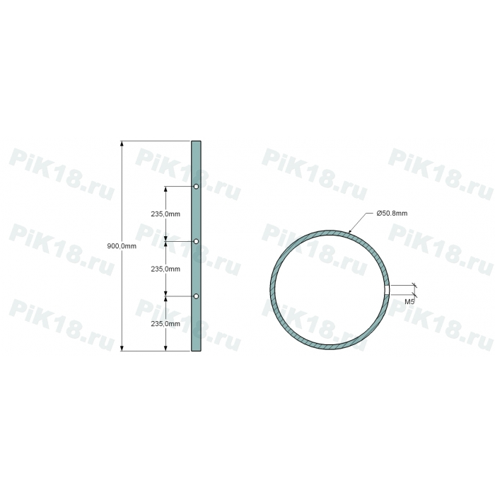 Стойка 50,8мм под 3 ригеля (AISI 201)