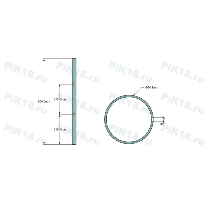 Стойка 50,8мм под 2 ригеля (AISI 304)