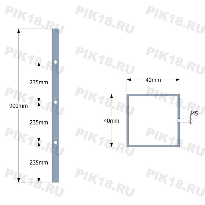 Стойка 40x40мм под 3 ригеля (AISI 201)