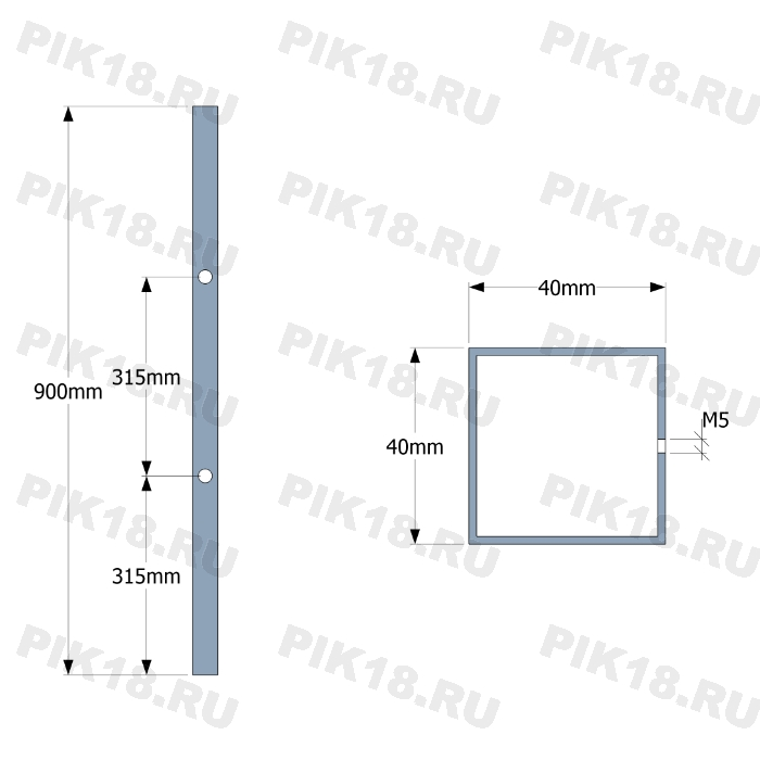 Стойка 40x40мм под 2 ригеля (AISI 304)