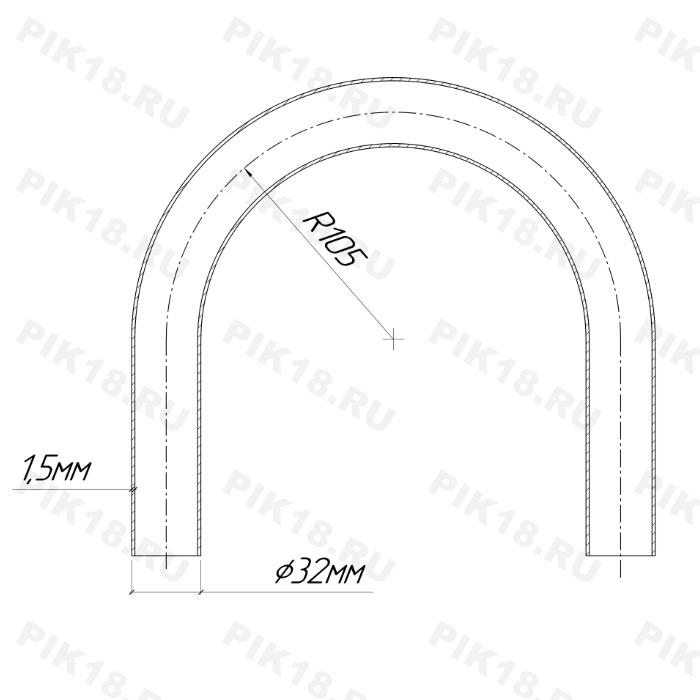 Гибка трубы Ø32*1,5мм (CLR=105мм)